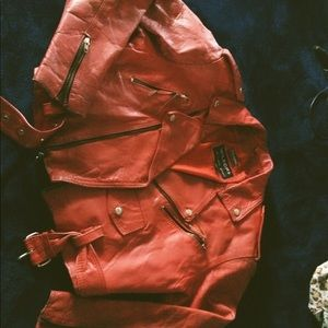 Wilson's red leather motorcycle jacket